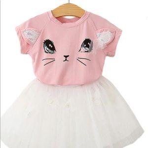 Other - Gurl Cute Pink Kitten Print T-Shirt & Tutu Skirt